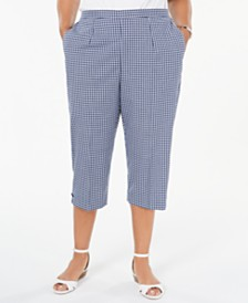 Alfred Dunner Plus Size Gingham Pull-On Capri Pants