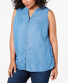 Plus Size Side-Seam Sleeveless Shirt, Created for Macy's
