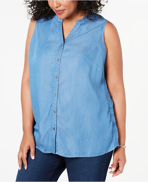 Style & Co Plus Size Side-Seam Sleeveless Shirt, Created for Macy's