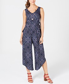 Style & Co Printed Drawstring-Waist Jumpsuit, Created for Macy's