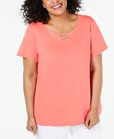 Karen Scott Cotton Plus Size Embellished Top, Created for Macy's