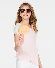 Epic Threads Big Girls Colorblocked Tie-Front T-Shirt, Created for Macy's