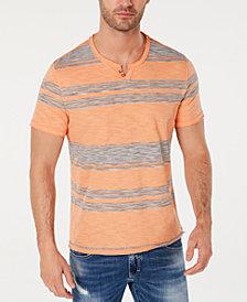 INC Men's Stripe Split-Neck T-Shirt, Created for Macy's