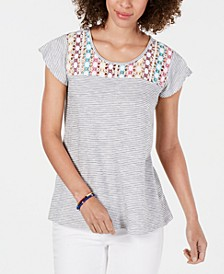 Cotton Crochet-Yoke Striped Top, Created for Macy's