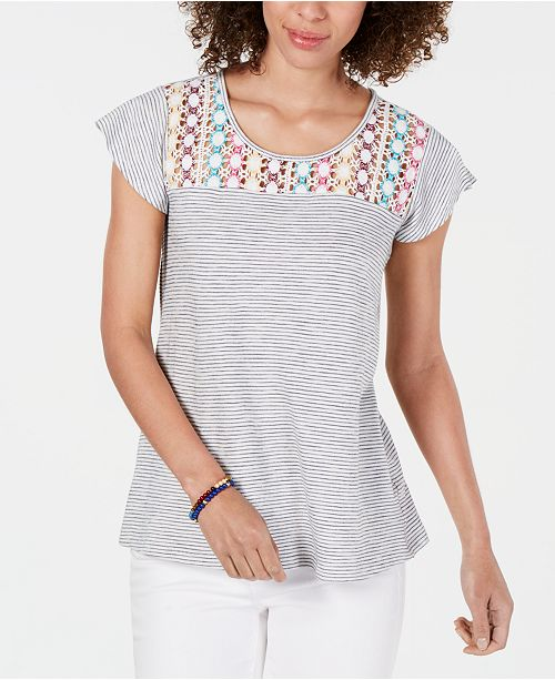 Style & Co Cotton Crochet-Yoke Striped Top, Created for Macy's