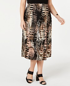 Alfani Plus Size Printed Pleated Midi Skirt, Created for Macy's