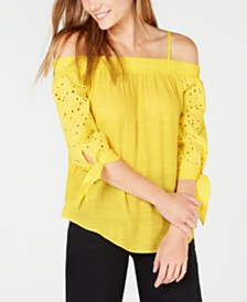 BCX Juniors' Off-The-Shoulder Eyelet Top