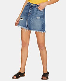 Sunny Distressed Denim Mini Skirt