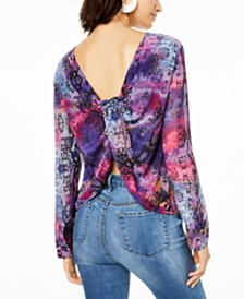 Bar III Snake-Print Twist-Back Top, Created for Macy's