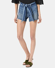 High-Rise Belted Denim Shorts