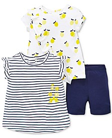 Baby Girls 3-Pc. Lemon Shirts & Shorts Set