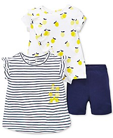 Little Me Baby Girls 3-Pc. Lemon Shirts & Shorts Set