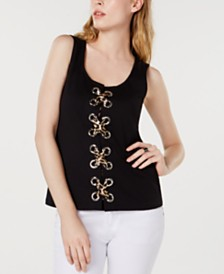 I.N.C. Lace-Up Ponte-Knit Top, Created for Macy's