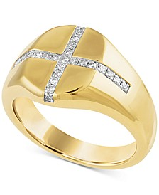Diamond Cross Signet Ring (1/4 ct. t.w.) in 14k Gold Over Sterling Silver
