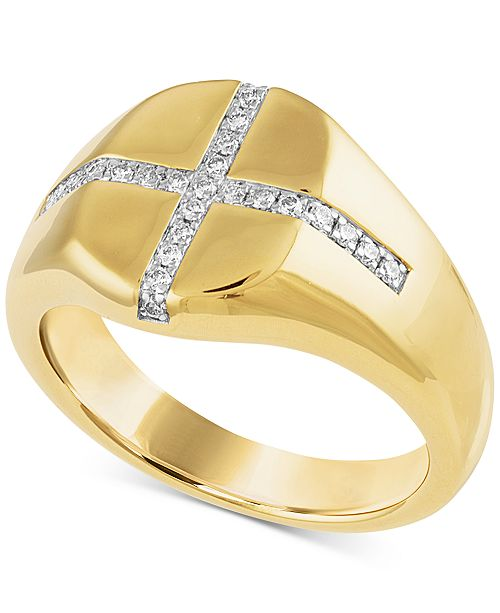 5bc9c5d3cf488 Diamond Cross Signet Ring (1/4 ct. t.w.) in 14k Gold Over Sterling Silver