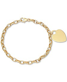 Heart Pendant Chain Bracelet in 10k Gold