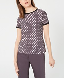 Anne Klein Carlyle Printed Button-Back Top