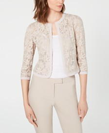 Anne Klein Floral-Lace Open-Front Sweater