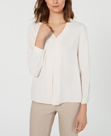 Anne Klein Inverted-Pleat V-Neck Top