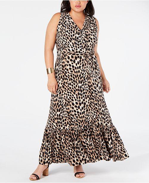 I.n.c. Plus Size Leopard-Print Faux-Wrap Maxi Dress, Creat…