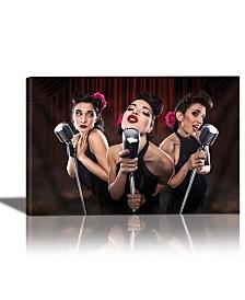 Eurographics Les Babettes -Turbo Swing Trio Framed Canvas Wall Art