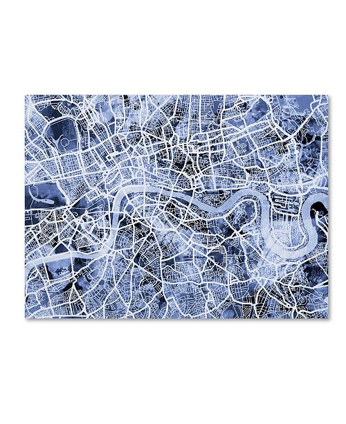 "Trademark Global Michael Tompsett 'London England Street Map B&W' Canvas Art - 14"" x 19"""