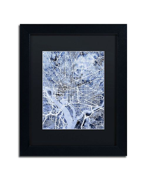"Trademark Global Michael Tompsett 'Washington DC Street Map B&W' Matted Framed Art - 11"" x 14"""