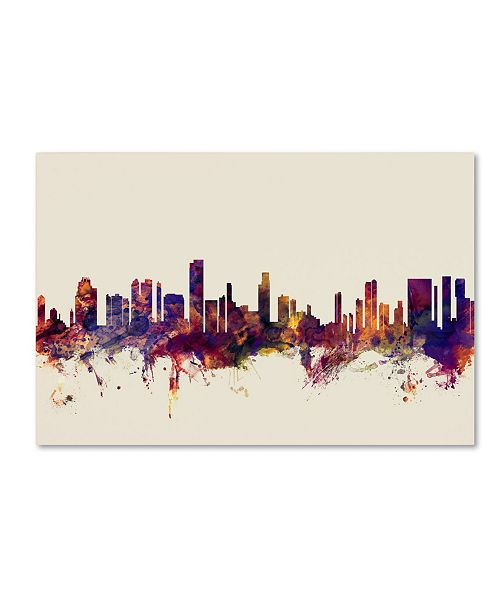 "Trademark Global Michael Tompsett 'Honolulu Hawaii Skyline' Canvas Art - 12"" x 19"""