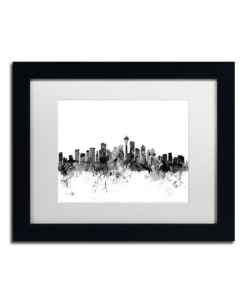 "Trademark Global Michael Tompsett 'Seattle Washington Skyline B&W' Matted Framed Art - 11"" x 14"""