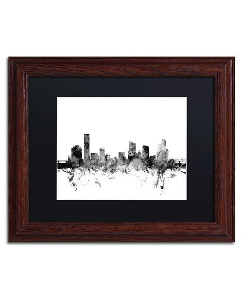 "Trademark Global Michael Tompsett 'Grand Rapids MI Skyline B&W' Matted Framed Art - 11"" x 14"""