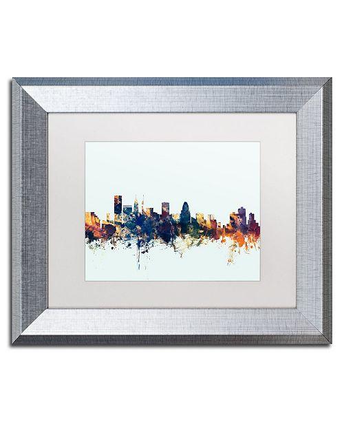 """Trademark Global Michael Tompsett 'Baltimore MD Skyline Blue' Matted Framed Art - 11"""" x 14"""""""