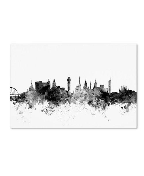 "Trademark Global Michael Tompsett 'Glasgow Scotland Skyline B&W' Canvas Art - 12"" x 19"""