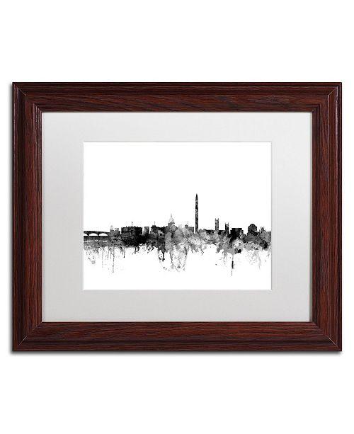 "Trademark Global Michael Tompsett 'Washington DC Skyline B&W' Matted Framed Art - 11"" x 14"""