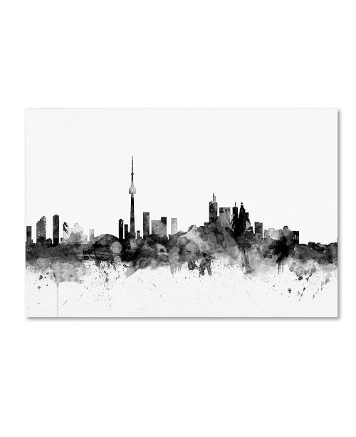 "Trademark Global Michael Tompsett 'Toronto Canada Skyline B&W' Canvas Art - 12"" x 19"""