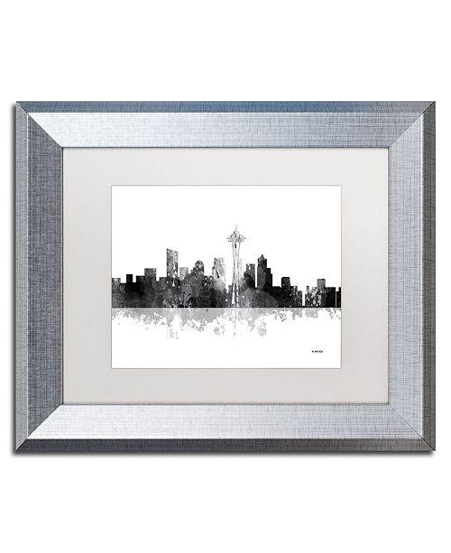 "Trademark Global Marlene Watson 'Seattle Washington Skyline BG-1' Matted Framed Art - 11"" x 14"""