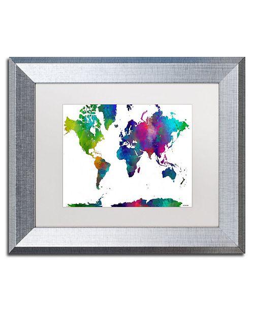 """Trademark Global Marlene Watson 'World Map Clr-1' Matted Framed Art - 11"""" x 14"""""""