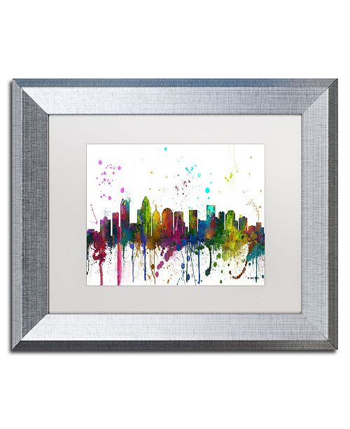"Trademark Global Marlene Watson 'Charlotte NC Skyline Mclr-1' Matted Framed Art - 11"" x 14"""