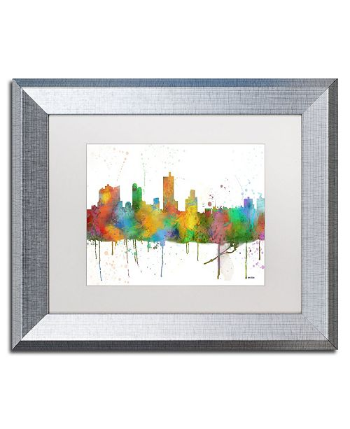 "Trademark Global Marlene Watson 'Forth Worth Texas Skyline Mclr-1' Matted Framed Art - 11"" x 14"""