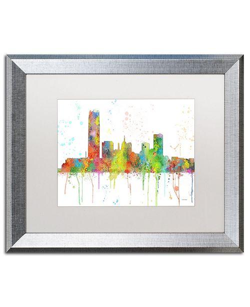 "Trademark Global Marlene Watson 'Oklahoma City Oklahoma Skyline' Matted Framed Art - 16"" x 20"""