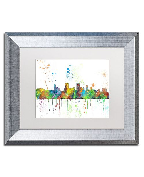 "Trademark Global Marlene Watson 'Springfield Illinois Skyline Mclr-1' Matted Framed Art - 11"" x 14"""