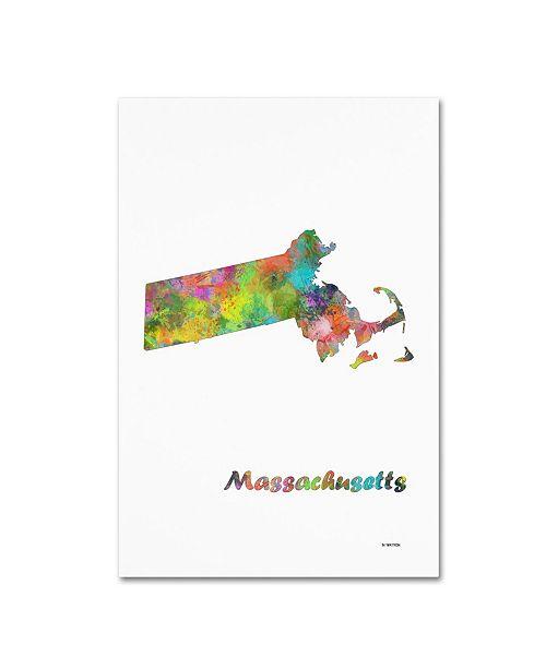 "Trademark Global Marlene Watson 'Massachusetts State Map-1' Canvas Art - 12"" x 19"""