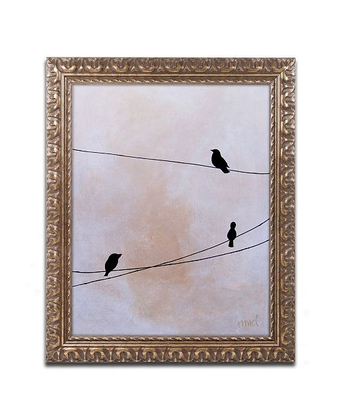"Trademark Global Nicole Dietz 'Bird on Wire White' Ornate Framed Art - 11"" x 14"""