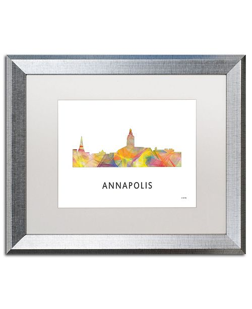 "Trademark Global Marlene Watson 'Annapolis Maryland Skyline WB-1' Matted Framed Art - 16"" x 20"""