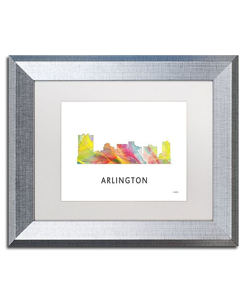 "Trademark Global Marlene Watson 'Arlington Texas Skyline WB-1' Matted Framed Art - 11"" x 14"""