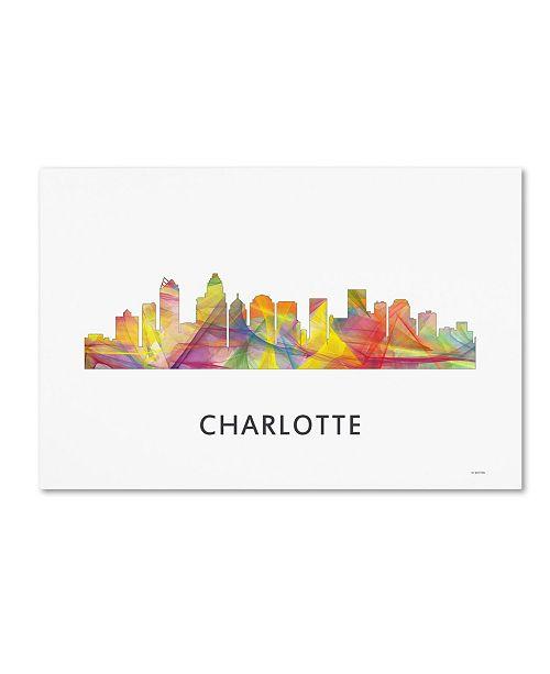 "Trademark Global Marlene Watson 'Charlotte NC Skyline WB-1' Canvas Art - 12"" x 19"""