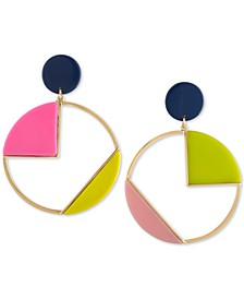 Gold-Tone Multicolor Geometric Circle Clip-On Drop Earrings