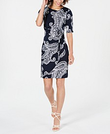 Petite Belted Paisley Dress