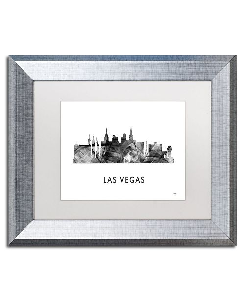 "Trademark Global Marlene Watson 'Las Vegas Nevada Skyline 2 WB-BW' Matted Framed Art - 11"" x 14"""