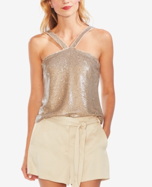 Vince Camuto Tops SEQUINED HALTER TOP