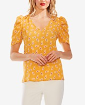 4ca95a31f7789f Vince Camuto Ditsy Floral-Print Puff-Sleeve Top